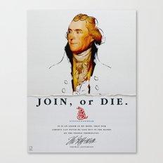 Thomas Jefferson, Revolution, Join Or die Canvas Print