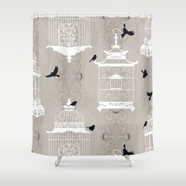 Snow Empty Brid Cages Shower Curtain