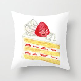 Kawaii Strawberry Cake Throw Pillow