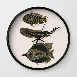 Fantastical Fish 1 - Black and Gold Wall Clock
