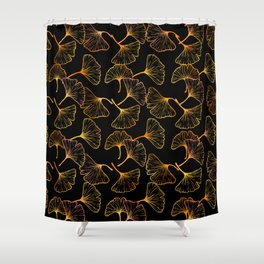 Ginkgo Leaf (Black Glow) - Gold Shower Curtain