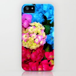 Red Blue Rose Flower Blossoms Hydrangeas iPhone Case