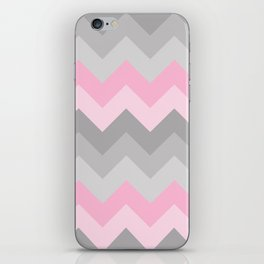 Pink Grey Gray Chevron Girl  iPhone Skin