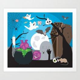 Halloween Monster Scene Art Print