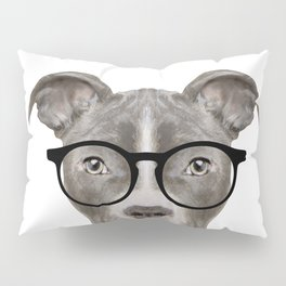 Pit bull with glasses Dog illustration original painting print Pillow Sham