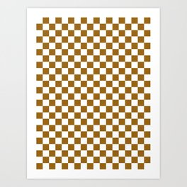 Small Checkered - White and Golden Brown Art Print