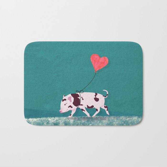 Baby Pig With Heart Balloon Bath Mat