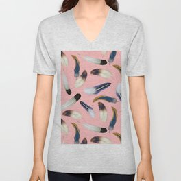 Pattern with feathers on a pink background Unisex V-Neck