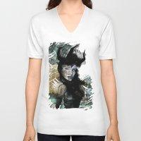 angel V-neck T-shirts featuring Angel by Irmak Akcadogan