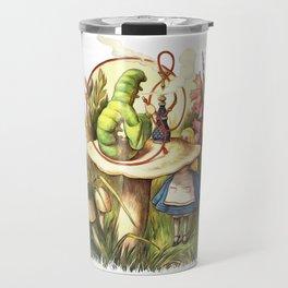 Alice & The Hookah Smoking Caterpillar - Alice In Wonderland Travel Mug