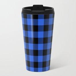 Royal Blue and Black Lumberjack Buffalo Plaid Fabric Travel Mug
