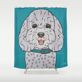Icons of the Dog Park Bichon Frise  Design in Bold Colors for Pet Lovers Shower Curtain