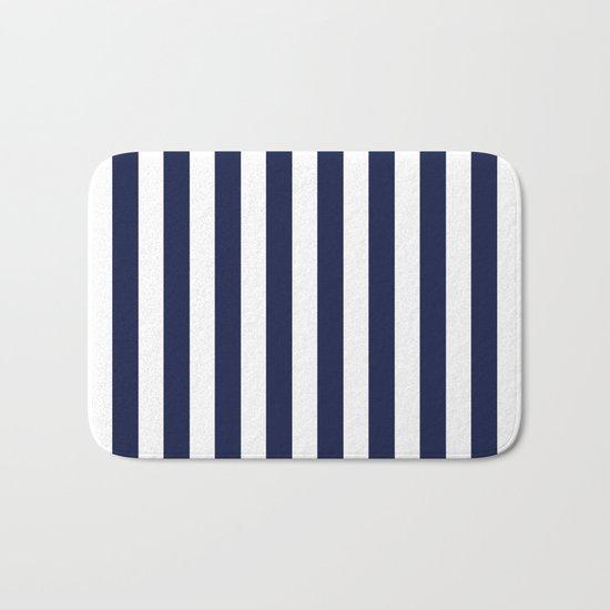 Stripe Vertical Navy Blue Bath Mat