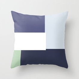 Navy blue and green abstract art Throw Pillow