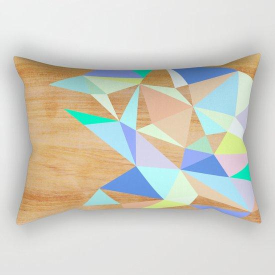 Wooden Geo Aqua Rectangular Pillow