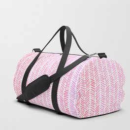 Handpainted Chevron pattern small - pink watercolor on white Duffle Bag
