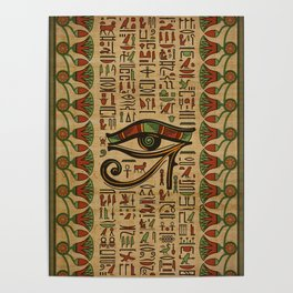 Egyptian Eye of Horus Ornament on papyrus Poster