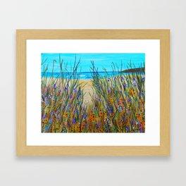 Beach flowers, impressionism ocean art, wildflowers on the beach Framed Art Print