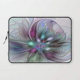 Colorful Fantasy Abstract Modern Fractal Flower Laptop Sleeve