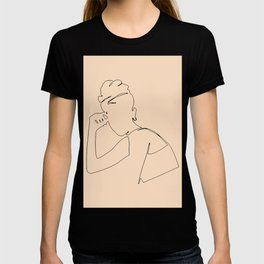 Minimal line drawing of young woman, art and collectibles, printable wall art, vintage posters set. T-shirt