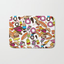 Cartoon Junk food pattern. Bath Mat