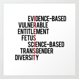 Donald Trump's seven banned words CDC: I RESIST 7 evidence-based vulnerable entitlement fetus Art Print