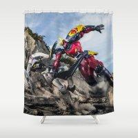 gurren lagann Shower Curtains featuring gurren battle by romar