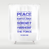 jedi Shower Curtains featuring The Jedi Code by JuyoDesign