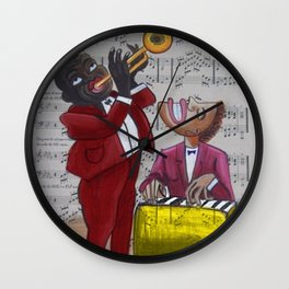 African American 'Apollo Theater Sheet Music Portrait No. 6' Hot Jazz by Miguel Covarrubias Wall Clock