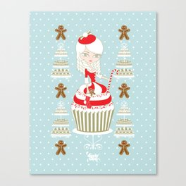 Merry Lady Christmas Cupcake Canvas Print