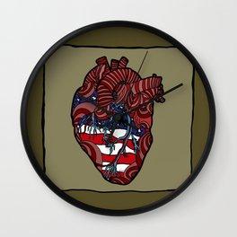 """Flag Heart"" - American Flag, Human Heart - Labor Day - www.davidjdiamant.com Wall Clock"