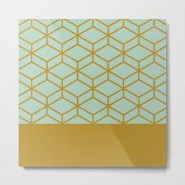 Geometric Honeycomb Lattice Half Pattern in Golden Mustard and Aqua Mint  Metal Print