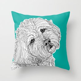 Cockapoo Dog Portrait ( teal background ) Throw Pillow