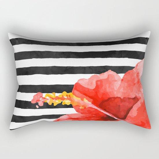 Tropical flower on stripes Rectangular Pillow