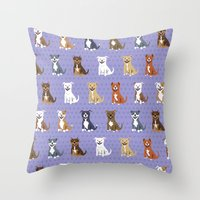 pit bull Throw Pillows featuring American PIT BULL TERRIERS by DoggieDrawings