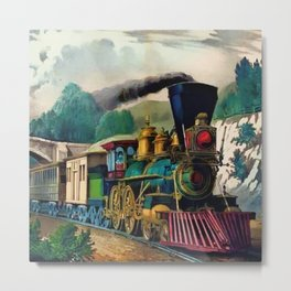 1870 Currier & Ives Steam Locomotive - The Express Train Lithograph Metal Print