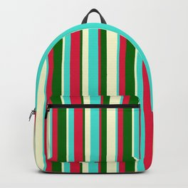 Turquoise, Light Yellow, Dark Green & Crimson Colored Striped Pattern Backpack
