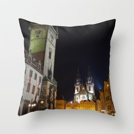 Old Town Square at Night, Prague  Throw Pillow
