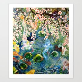 Japanese Koi Fish Pond Art Print
