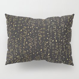 Luxury Black Gold Party Streamers Pattern Seamless Vector Pillow Sham
