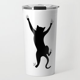 Climbing black cat Travel Mug