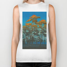 Vintage Japanese Woodblock Print Art Print Tall Sunset Trees Silhouette Twilight Forest East Asian Biker Tank