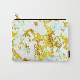 Elegant Marble and Gold Textures With Blue Splashes Carry-All Pouch