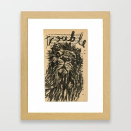 trouble, the lion Framed Art Print