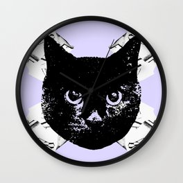 Purple Scrunch Quad Cat Wall Clock