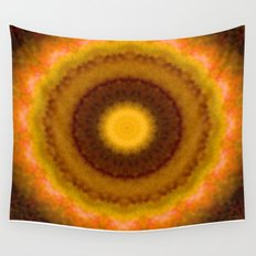 Lovely Healing Mandalas in Brilliant Colors: Brown, Pink, Gold, Yellow, Pink and Green Wall Tapestry