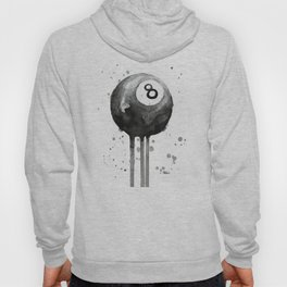 8-Ball Watercolor Black Pool Billiards Eight Ball Art Hoody