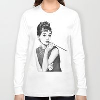 audrey Long Sleeve T-shirts featuring Audrey by Olechka