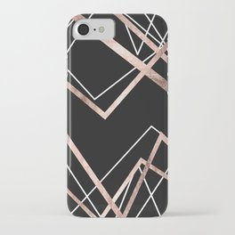 Rose Gold Black Linear Triangle Abstract Pattern iPhone Case