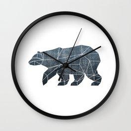 Geometric Bear - Blue Wall Clock